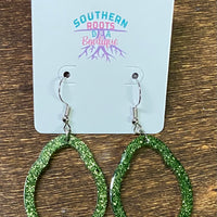Sparkly Scallop Hoop Earrings - Hill Country (Grinch Green)