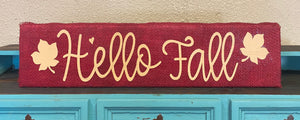 "Burlap Wood Block Signs 23"" - Hello Fall"