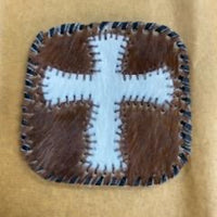 Cowhide Cross Coaster - Brown w/ Black Stitching