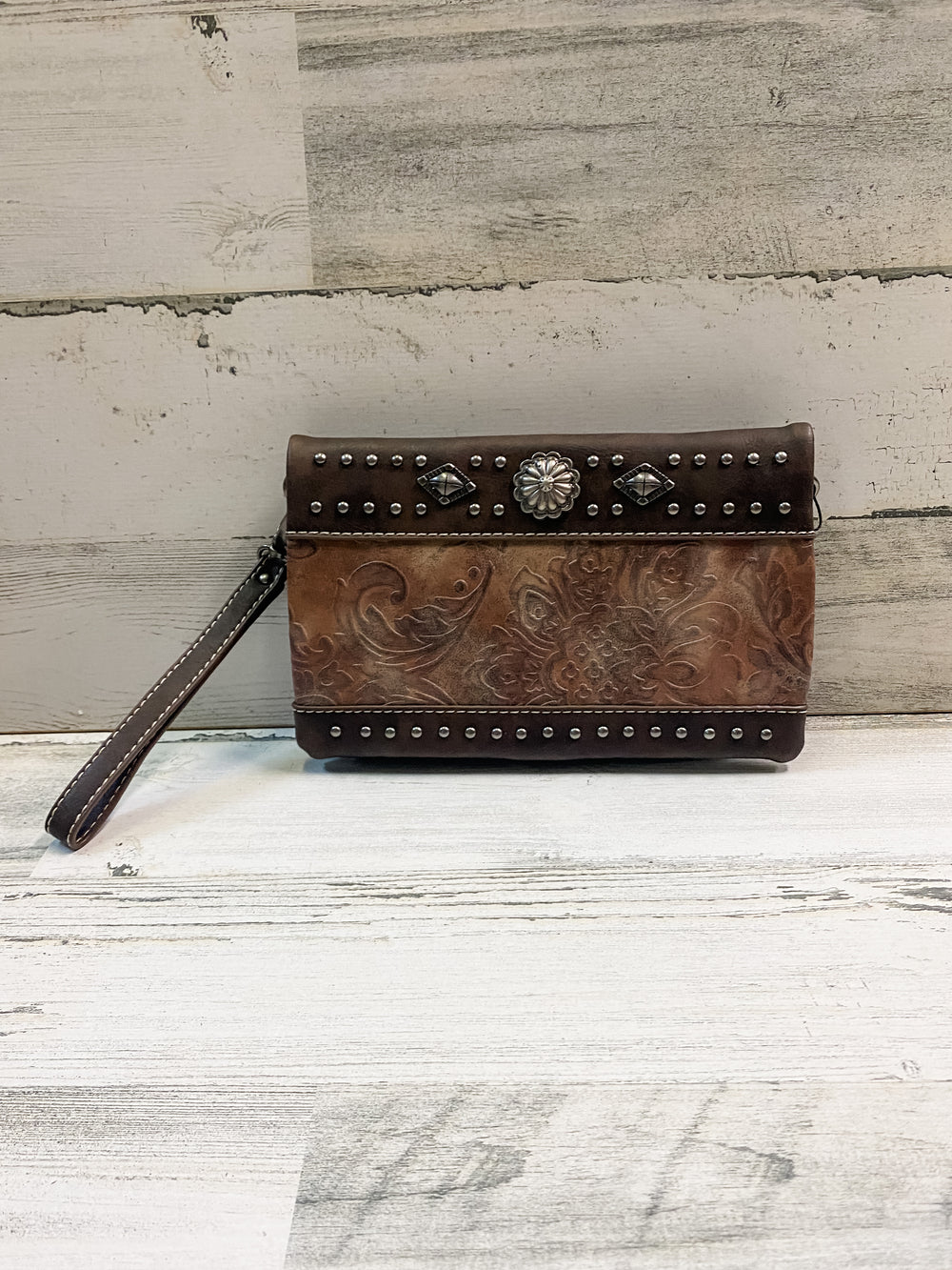 American Bling Clutch - Brown