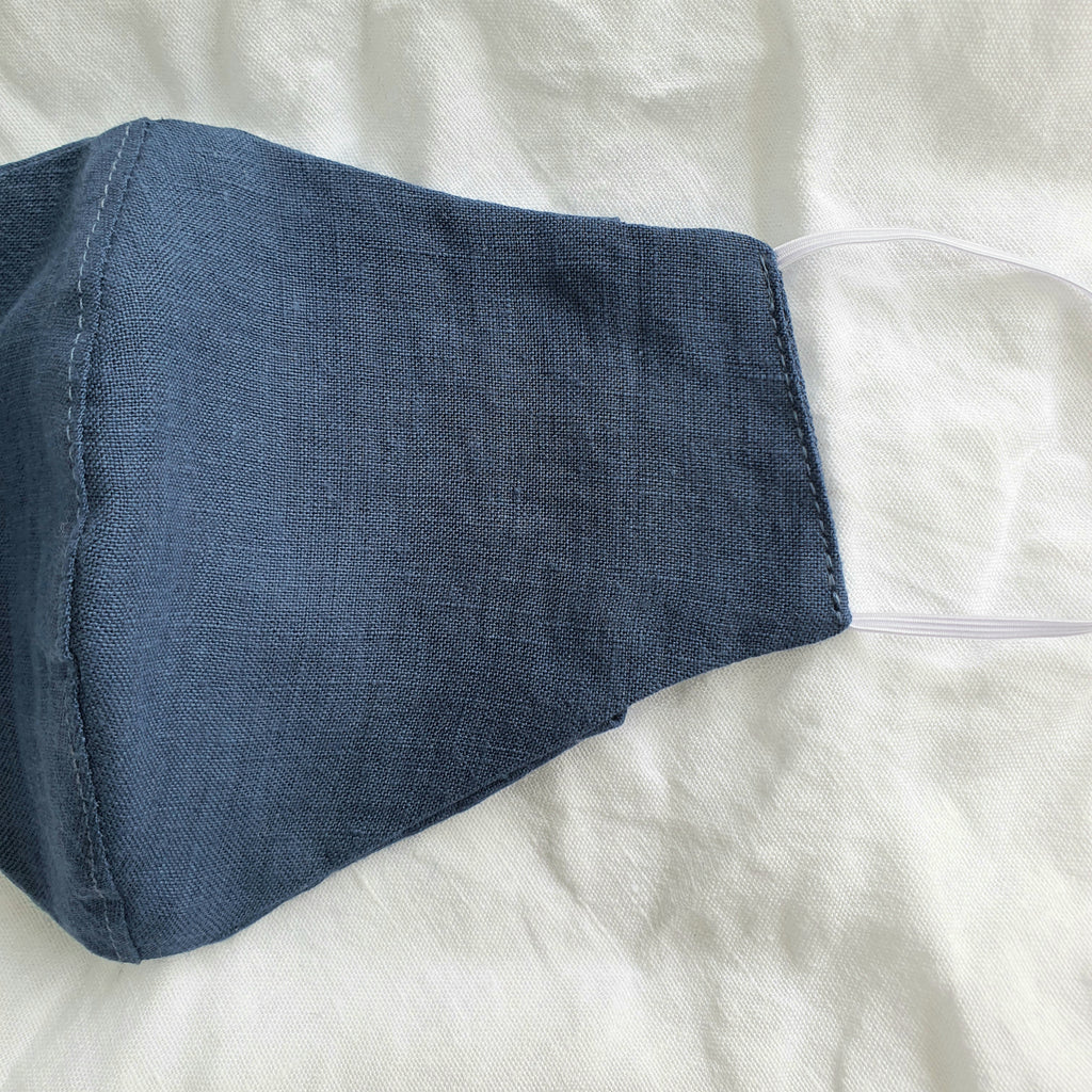 Linen Face Mask | Teal Blue