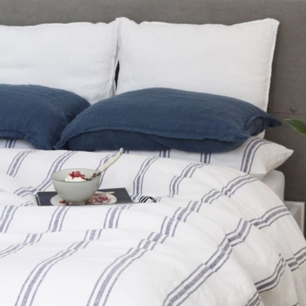 ZZ** Linen Duvet Cover Set | Royal Stripe**