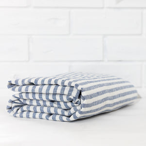 Blue Striped Linen Flat Sheet