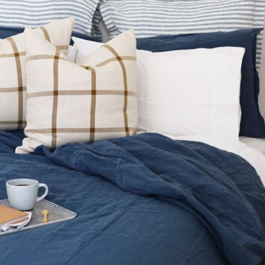 French Linen Duvet Cover Set | French Blue
