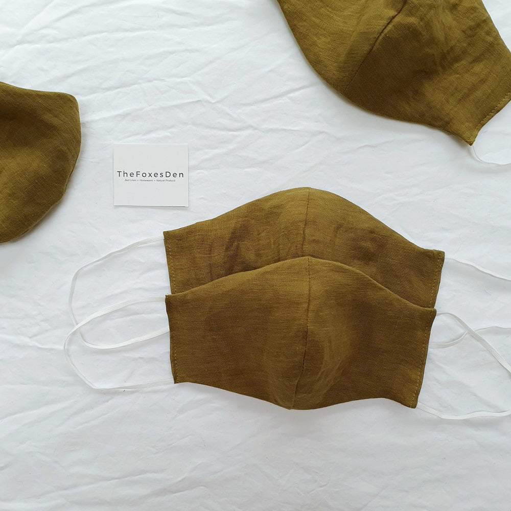 Linen Face Mask | Moss Green