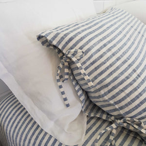 Linen Pillowcases | Blue Stripes