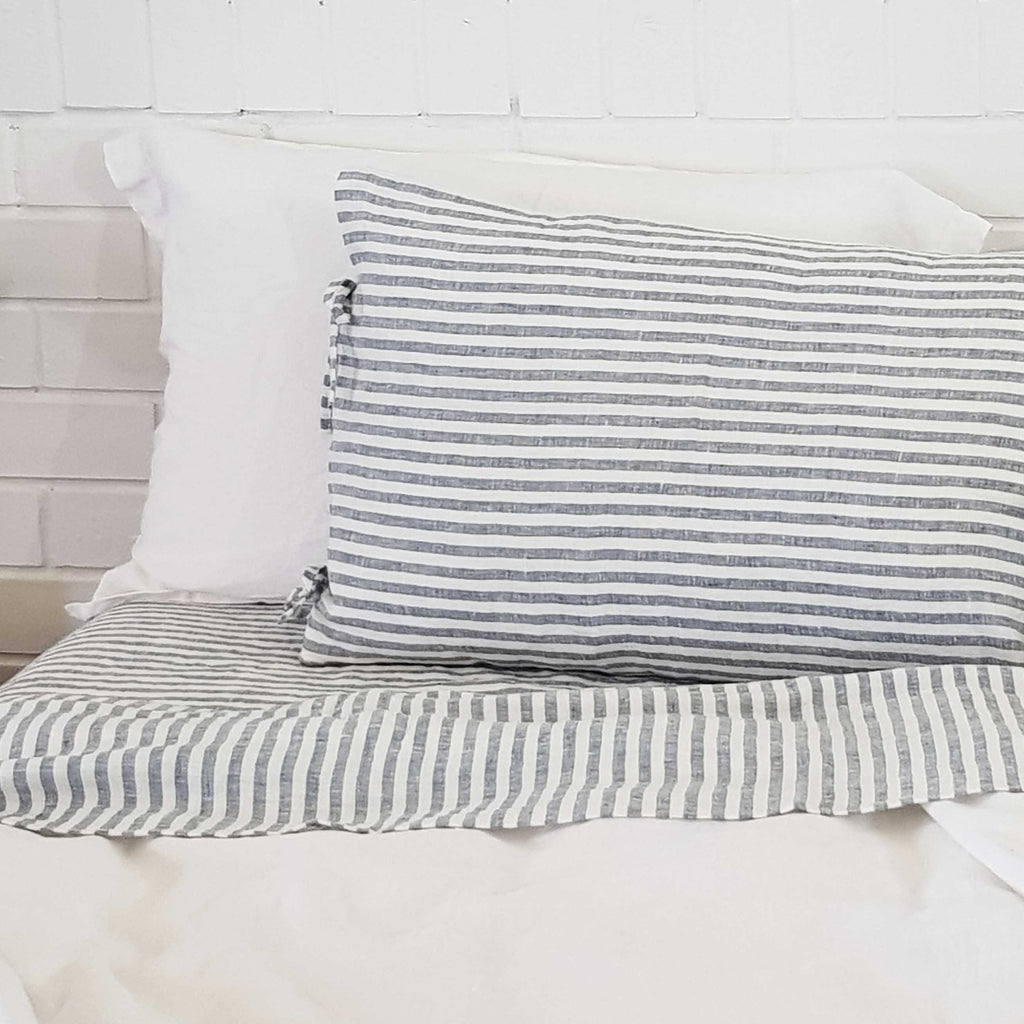 Blue Striped Linen Duvet Cover | Made in Europe