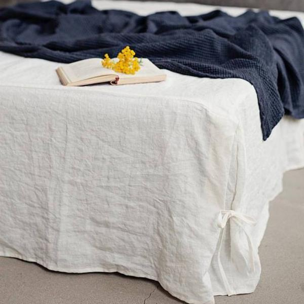 Linen Bed Skirt with Ties | Custom Made