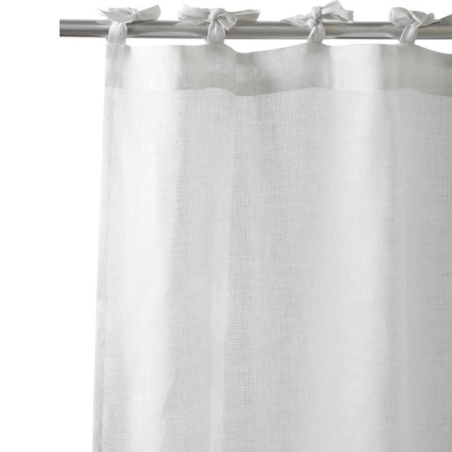 White Linen Curtains - Tie top