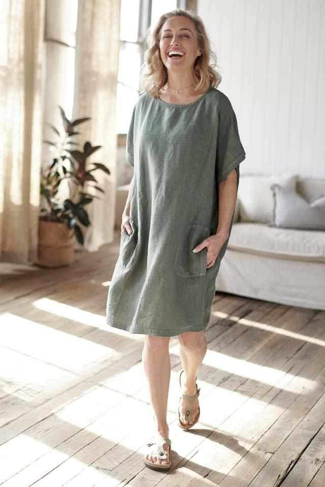 Linen Pocket Dress | Khaki