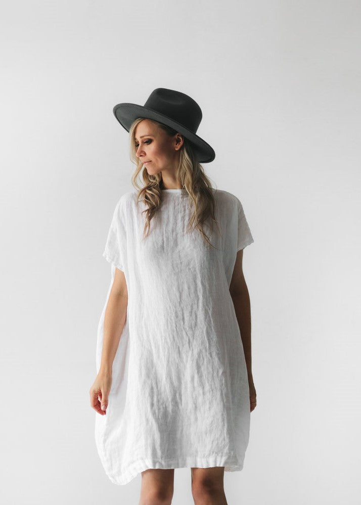 Square Linen Dress | White