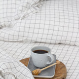 Stonewashed Linen Fitted Sheet | Charcoal Grid | Made in Europe