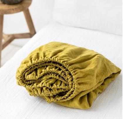 Linen Fitted Sheet | Mustard | Queen