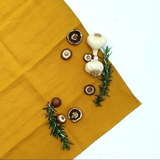 Linen Tea Towel | Mustard | Made in NZ