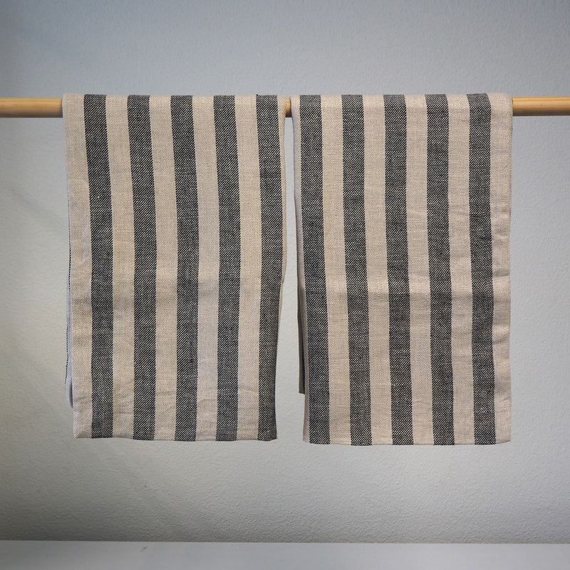 Linen Pillowcases | Black & Natural Stripe