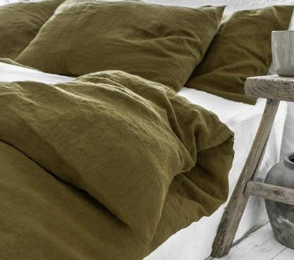 Olive Linen Duvet Cover Set | Oeko-Tex Certifed | Made in Europe