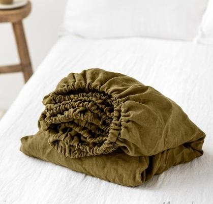 Linen Fitted Sheet | Olive | Oeko-Tex® certified
