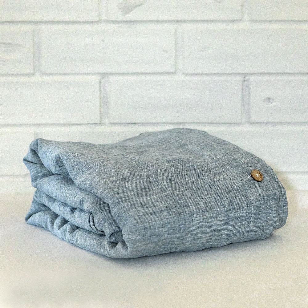 Chambray Blue Linen Duvet cover Set | Made in Europe