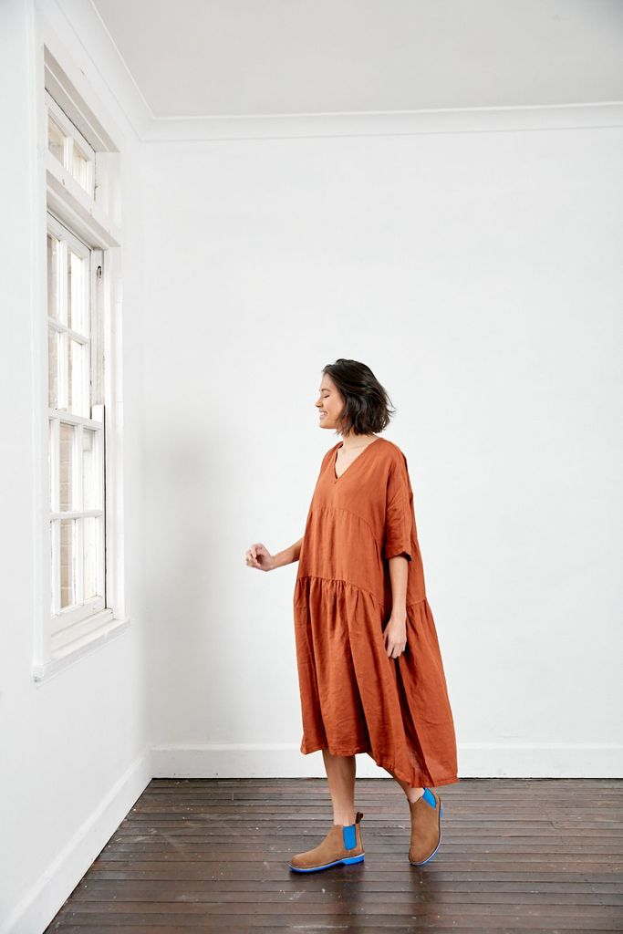 Tiered Linen Dress | Rust