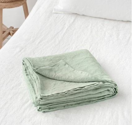 Sage Green Linen Flat Sheet | Oeko-Tex® certified