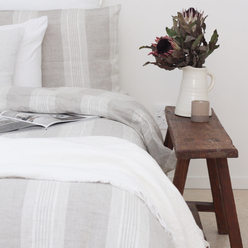 Linen Duvet Cover Set | Grey Stripe