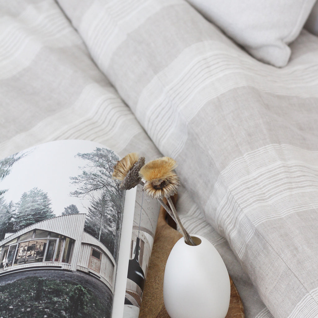 Linen Duvet Cover Set | Stripe