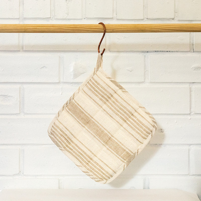 Striped Linen Pot Holder | Natural & Cream