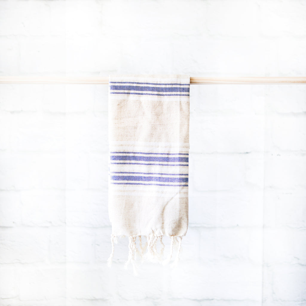 Linen Hand Towel | Blue Stripe