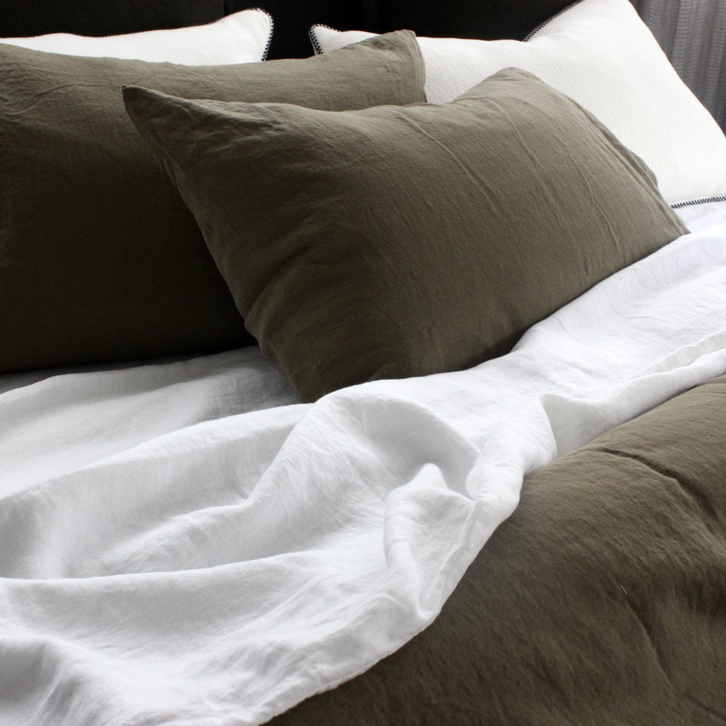 Stonewashed Linen Fitted Sheet | Khaki Green