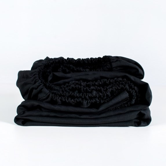 Linen Fitted Sheet| Black | Made in Europe