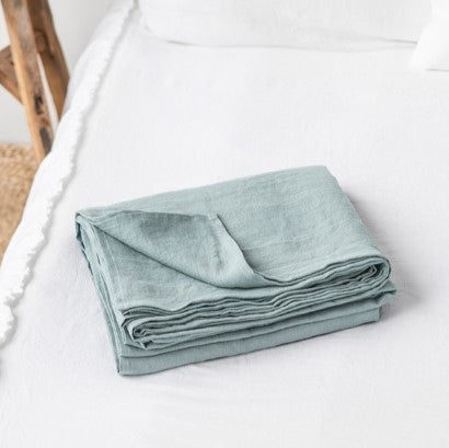 Dusky Blue Linen Flat Sheet | Oeko-Tex® certified