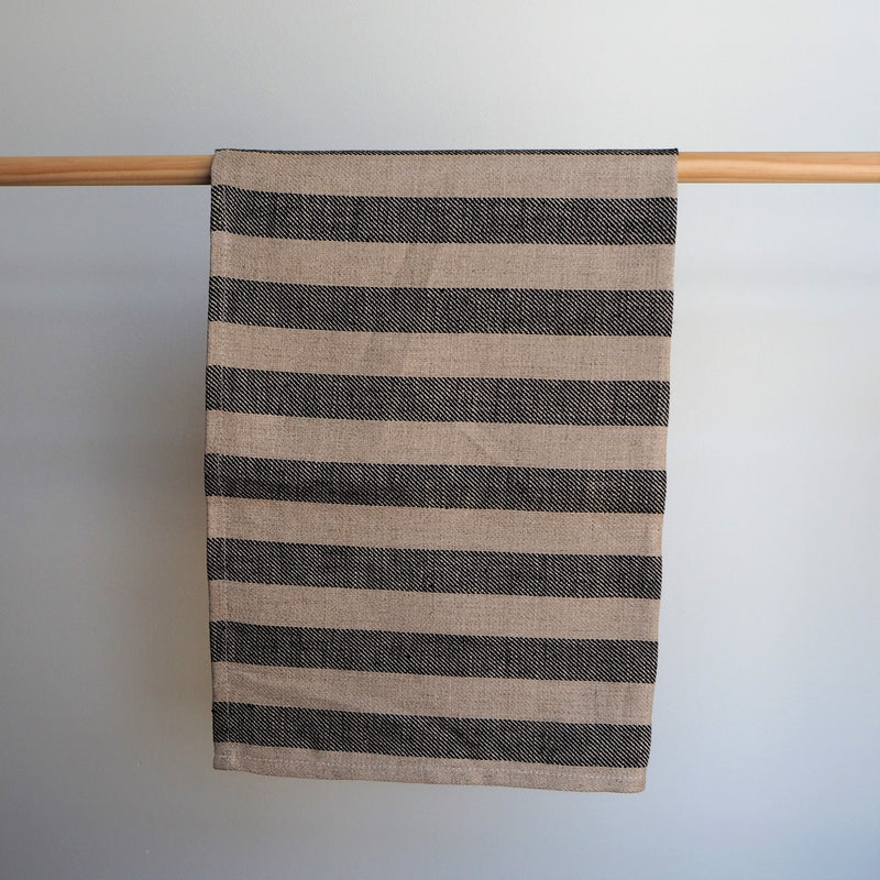 Linen Tea Towel | Natural & Black | Made in NZ