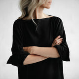 Linen Drop Waist Dress | Black