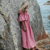 Off shoulder linen dress  | Pink