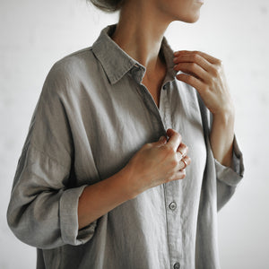 Oversized Linen Dress | Light Grey