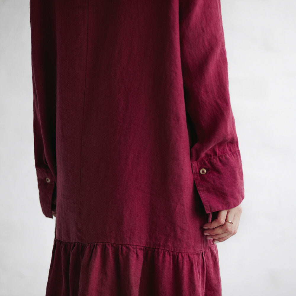 Linen Drop Waist Dress | Raspberry
