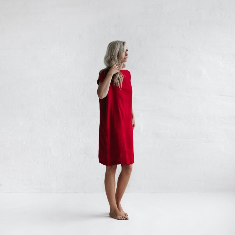 Short Linen Dress | Red