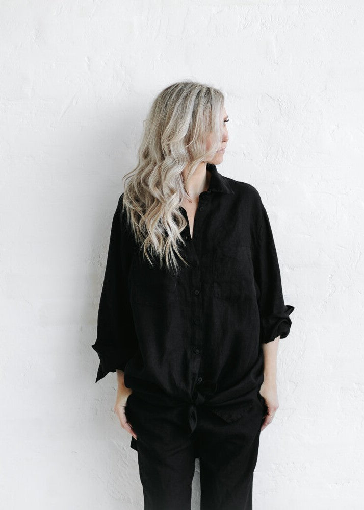 Linen Boyfriend Shirt | Black