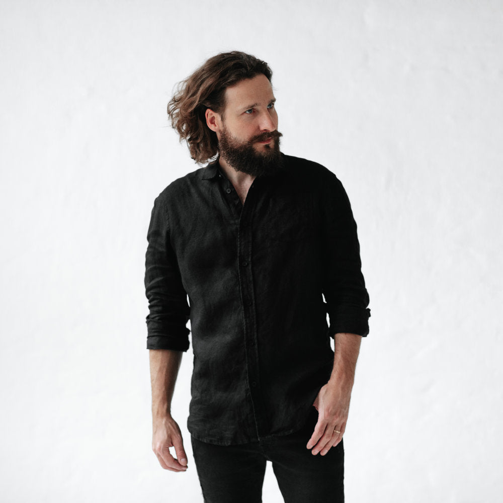 Men's Linen Shirt | Black