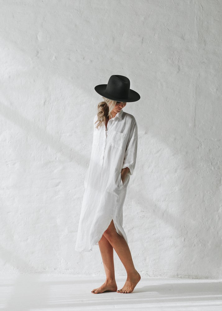 Linen shirt dress | White