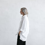 Linen Boyfriend Shirt | White