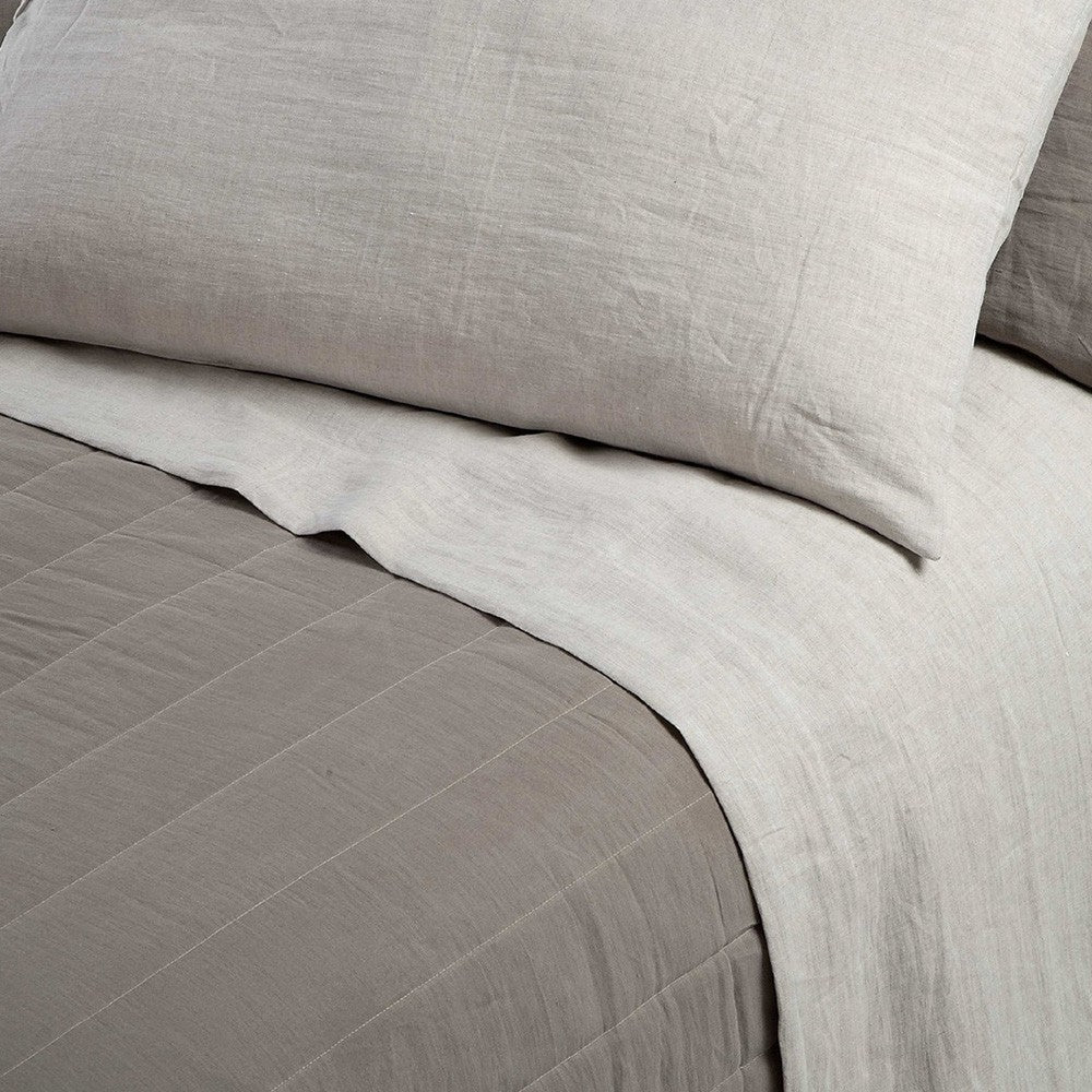 Pearl Grey Linen Flat Sheet | Made in Italy