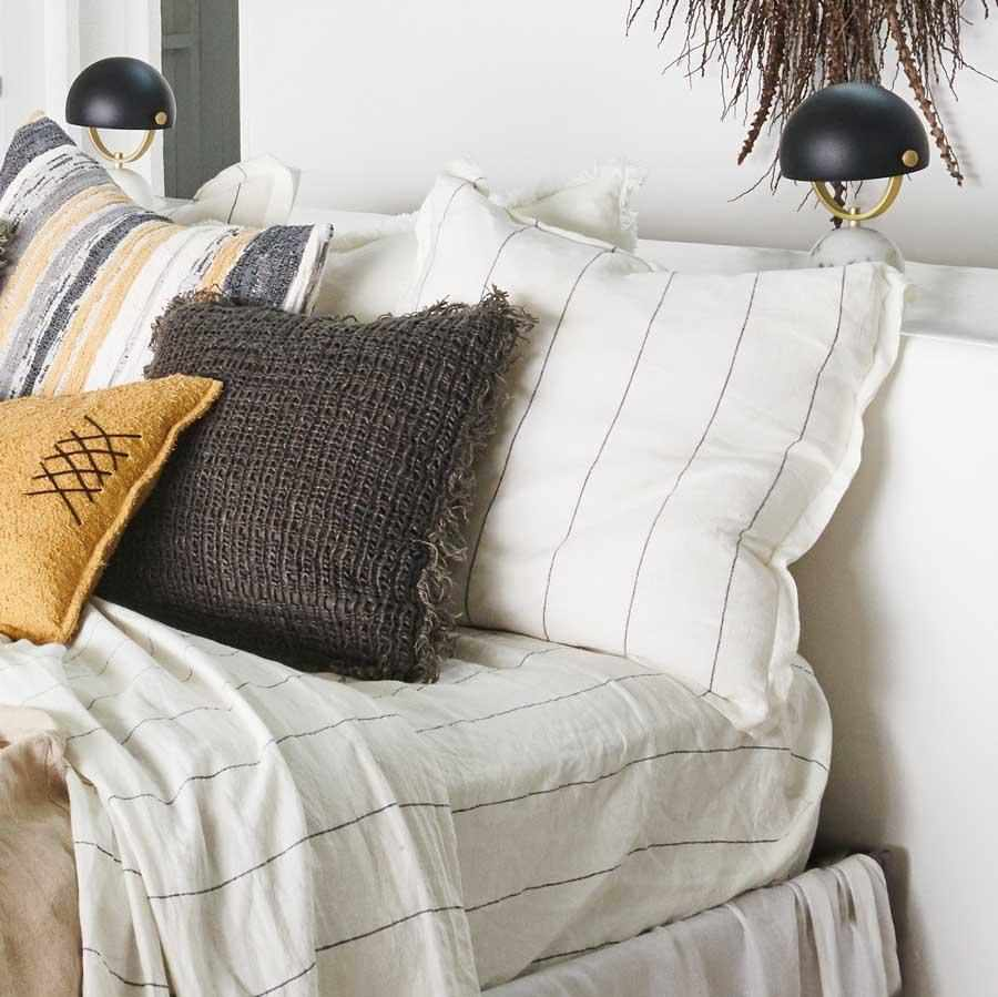 French Linen Pillowcases | Charcoal Stripe
