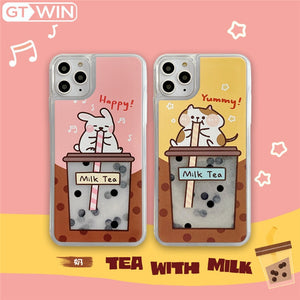 Rabbit Or Cat Drinking Pearl Milk Tea Phone Case For iPhone