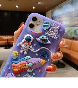 Cute Cartoon 3D Space Astronaut Phone Case For iPhone