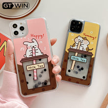 Load image into Gallery viewer, Rabbit Or Cat Drinking Pearl Milk Tea Phone Case For iPhone