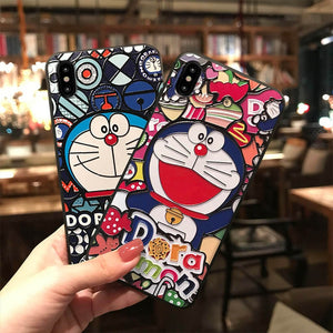 Doraemon  Cat Embossed Phone Case for iPhone