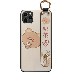 Cute Milk Tea Bear iPhone Case With Strap