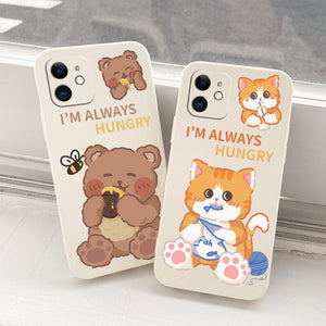 Cute Hungry Bear and Cat Case For iPhone