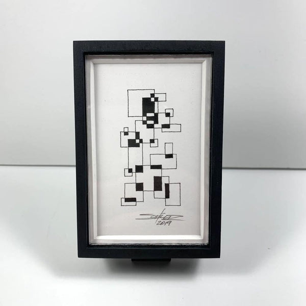 Black-White Tiny Grid 1 - Original - MJS.ART
